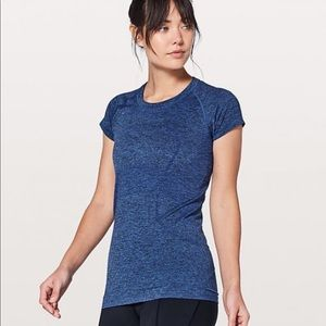 EUC Lululemon swiftly tech short sleeve blue 6